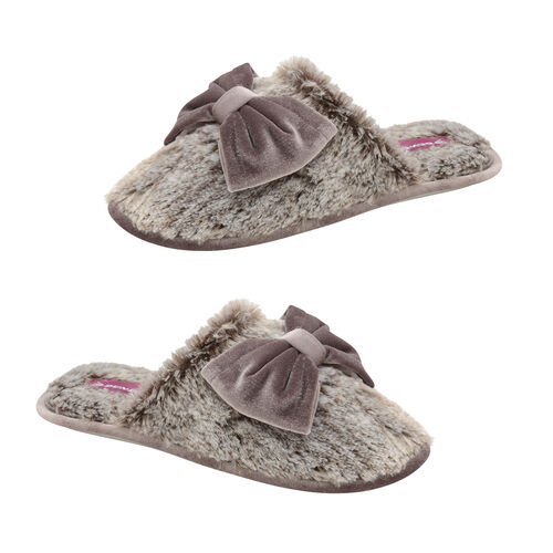Dunlop Memory Foam Faux Fur Bow Slip On Slippers (Size 4) - Grey/Mink
