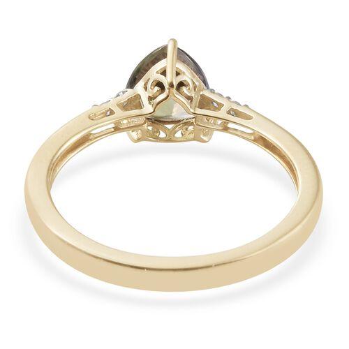 9K Yellow Gold 1.60 Ct AA Green Tanzanite Ring with Diamond