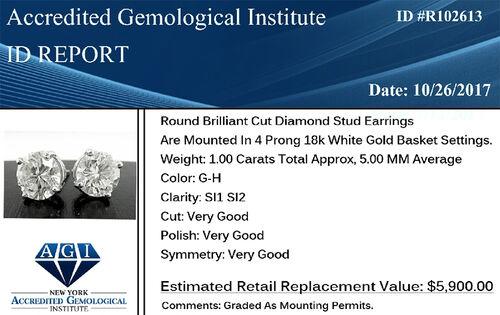 ILIANA 18K White Gold AGI Certified Diamond (Rnd) (SI/G-H) Stud Earrings (with Screw Back) 0.500 Ct.