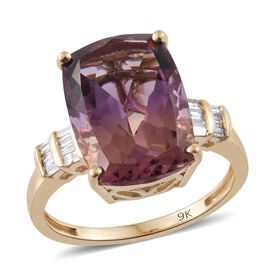 Collectors Edition - 9K Y Gold AA Anahi Ametrine (Cush 6.25 Ct), Diamond Ring 6.350 Ct.