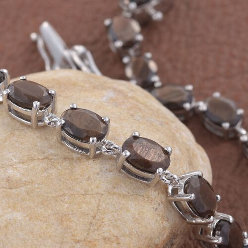 Natural Zawadi Golden Sheen Sapphire (Ovl) Tennis Bracelet (Size 7.5) in Platinum Overlay Sterling Silver 20.500 Ct. Silver wt 8.56 Gms.