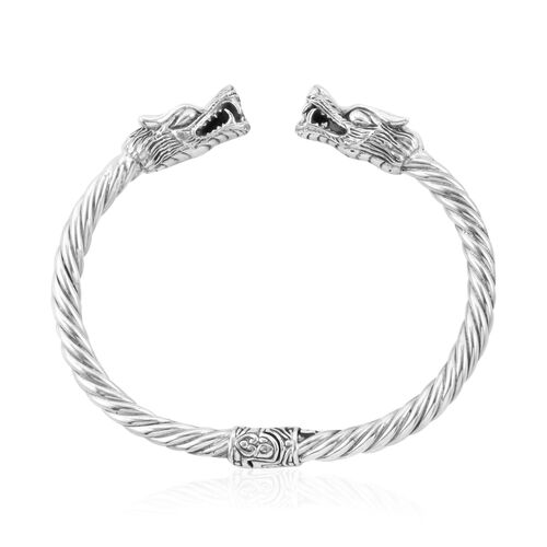 Royal Bali Collection Oxidised Sterling Silver Dragon Head Cuff Bangle (Size 7.25), Silver wt 27.25 Gms.