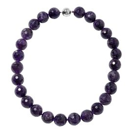 Collectors Edition- Extremely Rare Size Zambian Amethyst (Rnd 17-19 mm) Necklace (Size 20) in Rhodiu