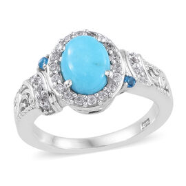 1.25 Carat Arizona Sleeping Beauty Turquoise and Multi Gemstones Halo Ring in Sterling Silver