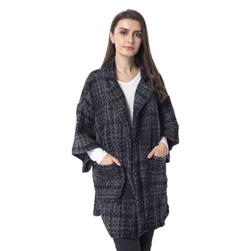 Designer Inspired-Dark Grey Colour Chequer Pattern Apparel (Size 83x63 Cm)