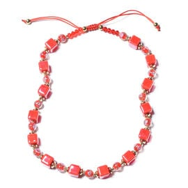 Red Colour Bead and Simulated Ruby and Red Murano Glass Adjustable Necklace 24 to 30 Inch