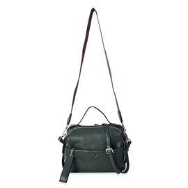 100% Genuine Leather Green Colour Crossbody Bag with Extrernal Zipper Pocket (Size 26x12x20 Cm)