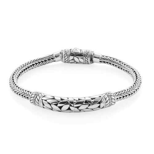 Royal Bali Collection Sterling Silver Leaves Tulang Naga Bracelet (Size 7.5), Silver wt 29.36 Gms.