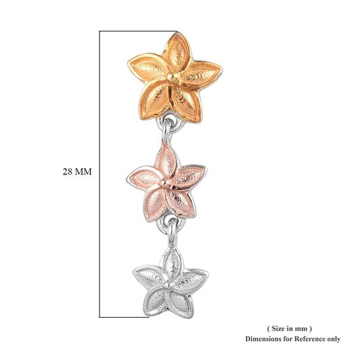 Platinum, Yellow and Rose Gold Overlay Sterling Silver Floral Earrings (with Push Back)