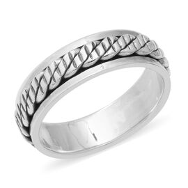 Sterling Silver Spinner Band Ring (Size N)
