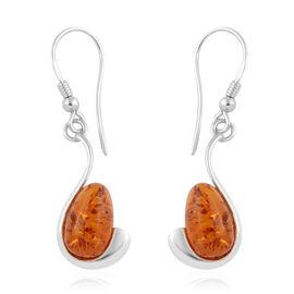 Baltic Amber (Pear) Hook Earrings in Sterling Silver