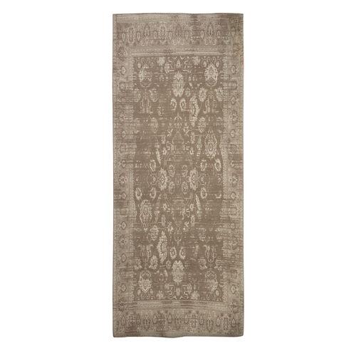 Premium Cotton Beige and Light Grey Colour Woven Rug (Size 240x80 Cm)