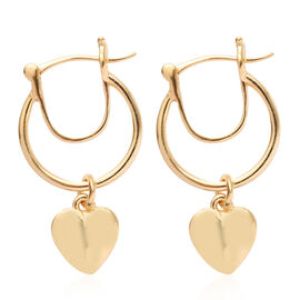 Yellow Gold Overlay Sterling Silver Heart Charm Earrings (with Fancy Clasp)