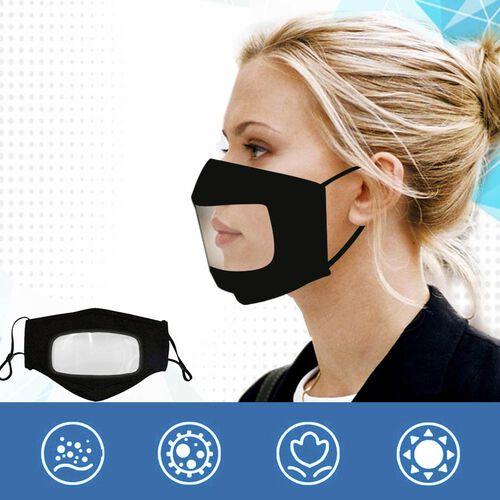 Transparent Face Mask (Size 14x20x29 Cm) - Black