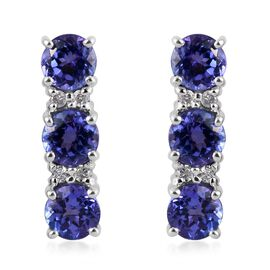 9K White Gold AA Tanzanite (Rnd), Diamond (I3/G-H) Earrings (with Push Back) 2.500 Ct.