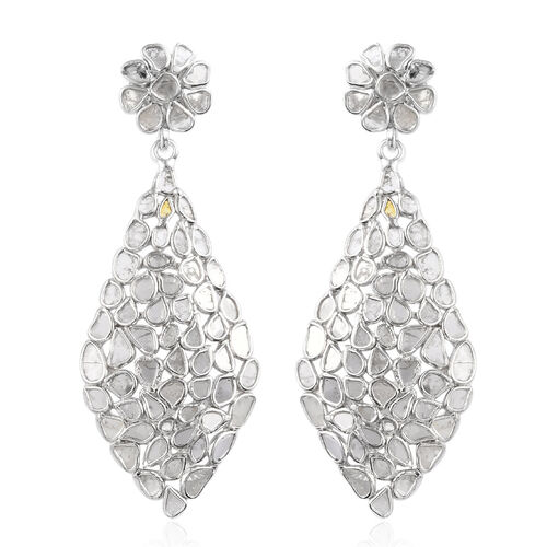 Artisan Crafted Polki Diamond Earrings (with Push Back) in Platinum Overlay Sterling Silver 3.50 Ct, Silver wt 5.70 Gms