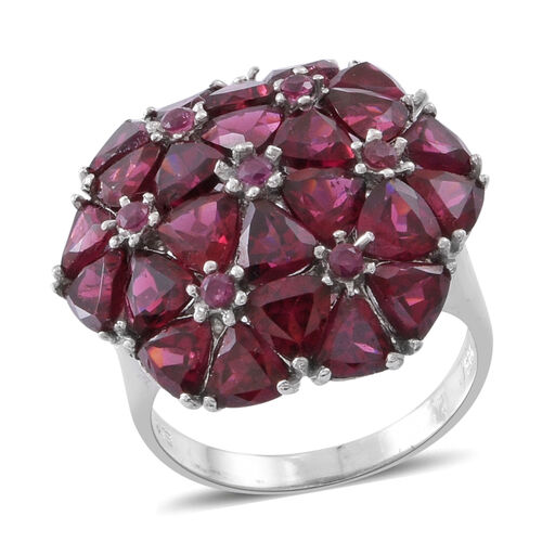 31.75 Ct Rhodolite Garnet Floral Cluster Ring in Rhodium Plated Silver 6.80 Grams
