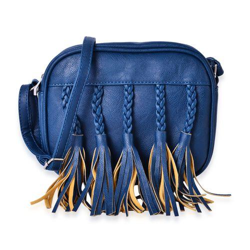 Sienna Summer Turquoise Hand Braided Tassel Cross body Bag   (Size 20x16x6.5 Cm)