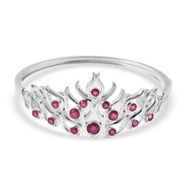LucyQ Flame Collection - African Ruby (FF) Bangle (Size 7.5) in Rhodium Overlay Sterling Silver 3.84