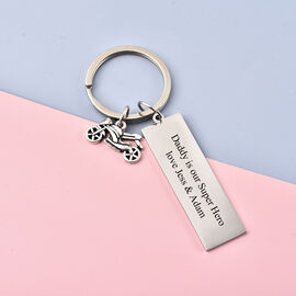 Personalise Engraveable Motorbike and Plate Key Ring in Stainless Steel