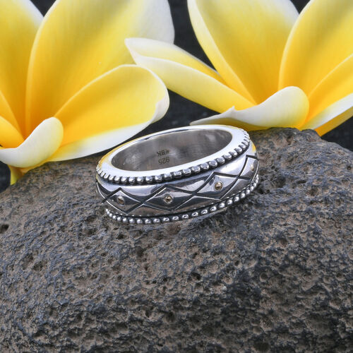 Royal Bali Collection - 18K Yellow Gold and Silver Textured Ring Band, Metal wt 12.31 Gms
