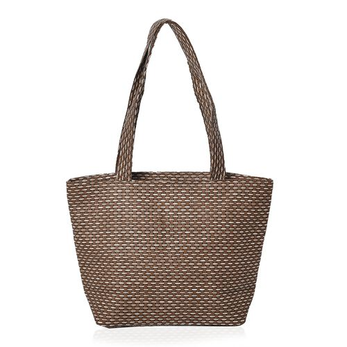 2 Piece Set - Flower Pattern Tote Bag with Zipper Closure (Size 44x30x14 Cm) and Hat with Bowknot (Size 29x31 Cm) - Cream and Brown