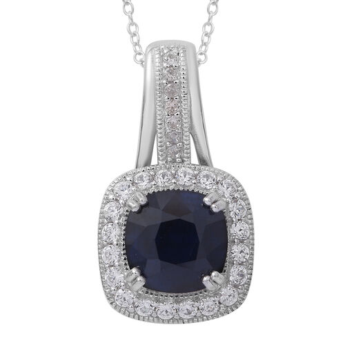 Designer Inspired - Kanchanaburi Blue Sapphire (Cush 5.00 Ct), Burmese Ruby and White Topaz Pendant with Chain in Rhodium Plated Sterling Silver 6.150 Ct. Silver wt 5.10 Gms.