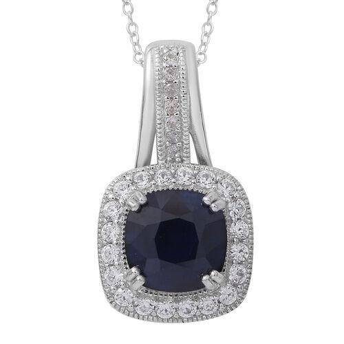 Designer Inspired - Kanchanaburi Blue Sapphire (Cush 5.00 Ct), Burmese Ruby and White Topaz Pendant