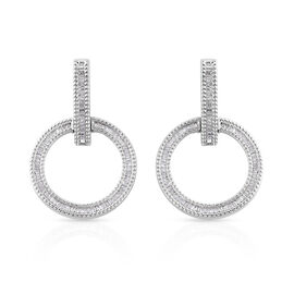 1 Carat Diamond Circle of Life Earrings in Platinum Plated Sterling Silver 8.09 Grams