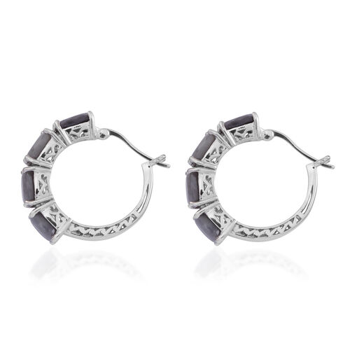 Natural Silver Sapphire (Cush), Diamond Hoop Earrings (with Clasp) in Rhodium Plated Sterling Silver 12.000 Ct.