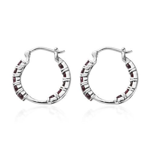Rhodolite Garnet Hoop Earrings in Stainless Steel 1.75 Ct.