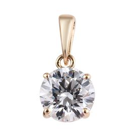 J Francis - 9K Yellow Gold (Rnd) Solitaire Pendant Made with SWAROVSKI ZIRCONIA 2.2 Ct