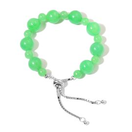 Rare Green Jade (Rnd) Adjustable Beads Bracelet (Size 6.5 - 9) in Rhodium Overlay Sterling Silver 45