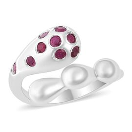 LucyQ African Ruby (Rnd) Adjustable Drip Bypass Ring in Rhodium Overlay Sterling Silver, Silver wt 5