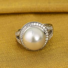 Royal Bali Collection - White South Sea Pearl and Natural Cambodian Zircon Ring in Platinum Overlay Sterling Silver