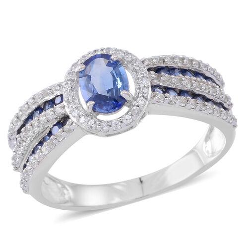 9K White Gold AAA Ceylon Sapphire (Ovl 1.00 Ct), Kanchanaburi Blue Sapphire and Natural White Cambodian Zircon Ring 2.000 Ct.