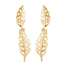 RACHEL GALLEY Yellow Gold Overlay Sterling Silver Lattice Feather Earrings