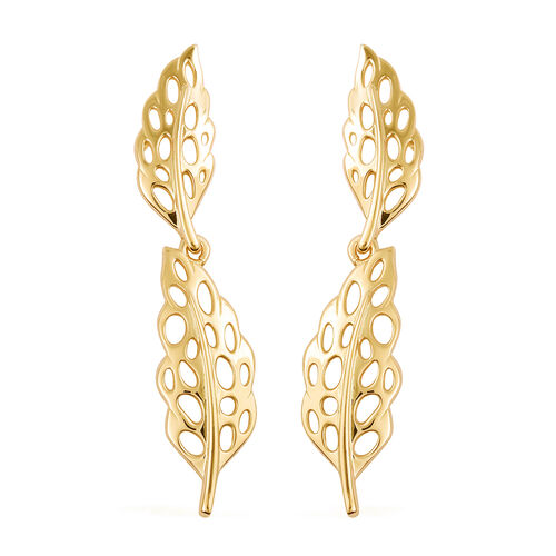 RACHEL GALLEY Lattice Feather Leaf Earrings in Yellow Gold Plated Sterling Silver
