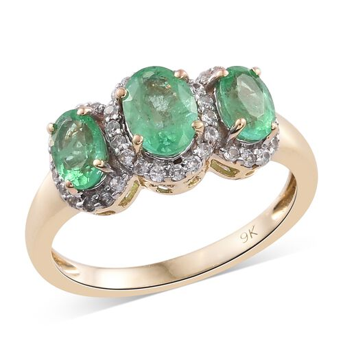 9K Yellow Gold AA Boyaca Colombian Emerald (Ovl), Natural Cambodian Zircon Ring 2.000 Ct.