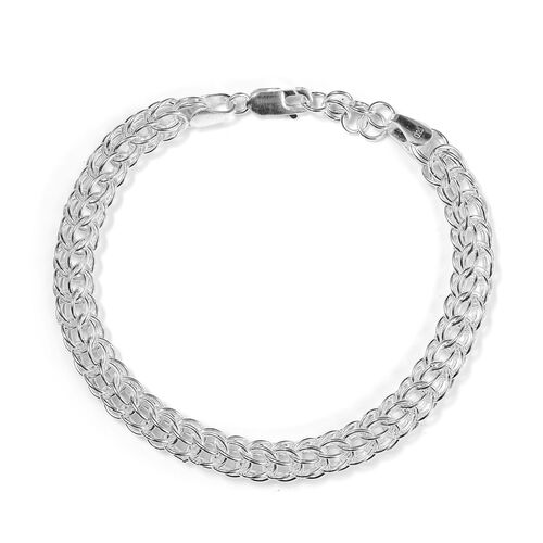 Sterling Silver Triple Curb Bracelet (Size 7.5 with 1 inch Extender), Silver wt. 16.52 Gms