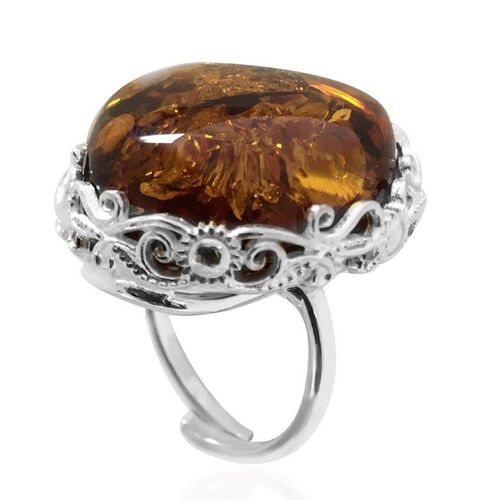 Baltic Amber (Ovl) Ring in Sterling Silver 22.000 Ct. Silver wt 6.10 Gms.