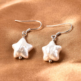 White Baroque Pearl Star Hook Earrings in Rhodium Overlay Sterling Silver