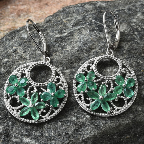 Designer Inspired - AA Kagem Zambian Emerald (Pear and Mrq) Flower Lever Back Earrings in Platinum Overlay Sterling Silver 3.500 Ct, Silver wt 5.49 Gms.