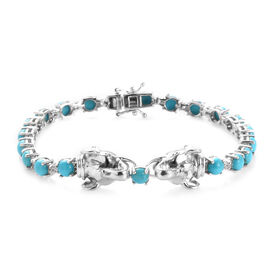 10.38 Ct Sleeping Beauty Turquoise and Zircon Elephant Bracelet in Platinum Plated Silver 7.5 Inch