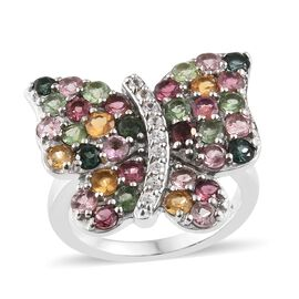 Rainbow Tourmaline (Rnd), Natural Cambodian Zircon Butterfly Ring in Platinum Overlay Sterling Silve