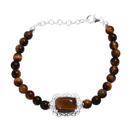 One Time Deal - Tigers Eye (Cush 56.25 Ct) Bracelet (Size 7.5) in Sterling Silver 64.50 Ct.