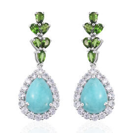 16.5 Ct Peruvian Amazonite Drop Earrings in Platinum Plated Sterling Silver 6.89 Grams