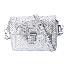 100% Genuine Leather Silver Colour Snake Skin Pattern Cross Body Bag (Size 21x6x14 Cm) with Detachab
