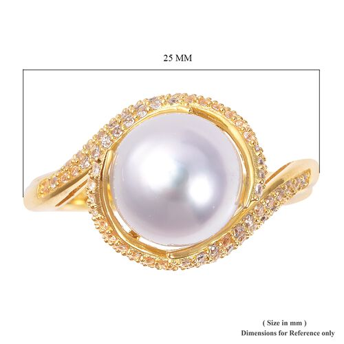 White South Sea Pearl (Rnd), Natural White Cambodian Zircon Swirl Ring in Yellow Gold Overlay Sterling Silver 1.421 Ct, Silver wt 5.00 Gms