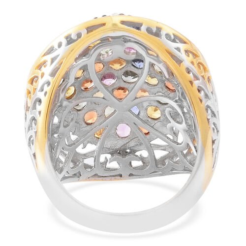 Rainbow Sapphire (Rnd) Cluster Ring in Rhodium and Gold Overlay Sterling Silver 6.500 Ct.